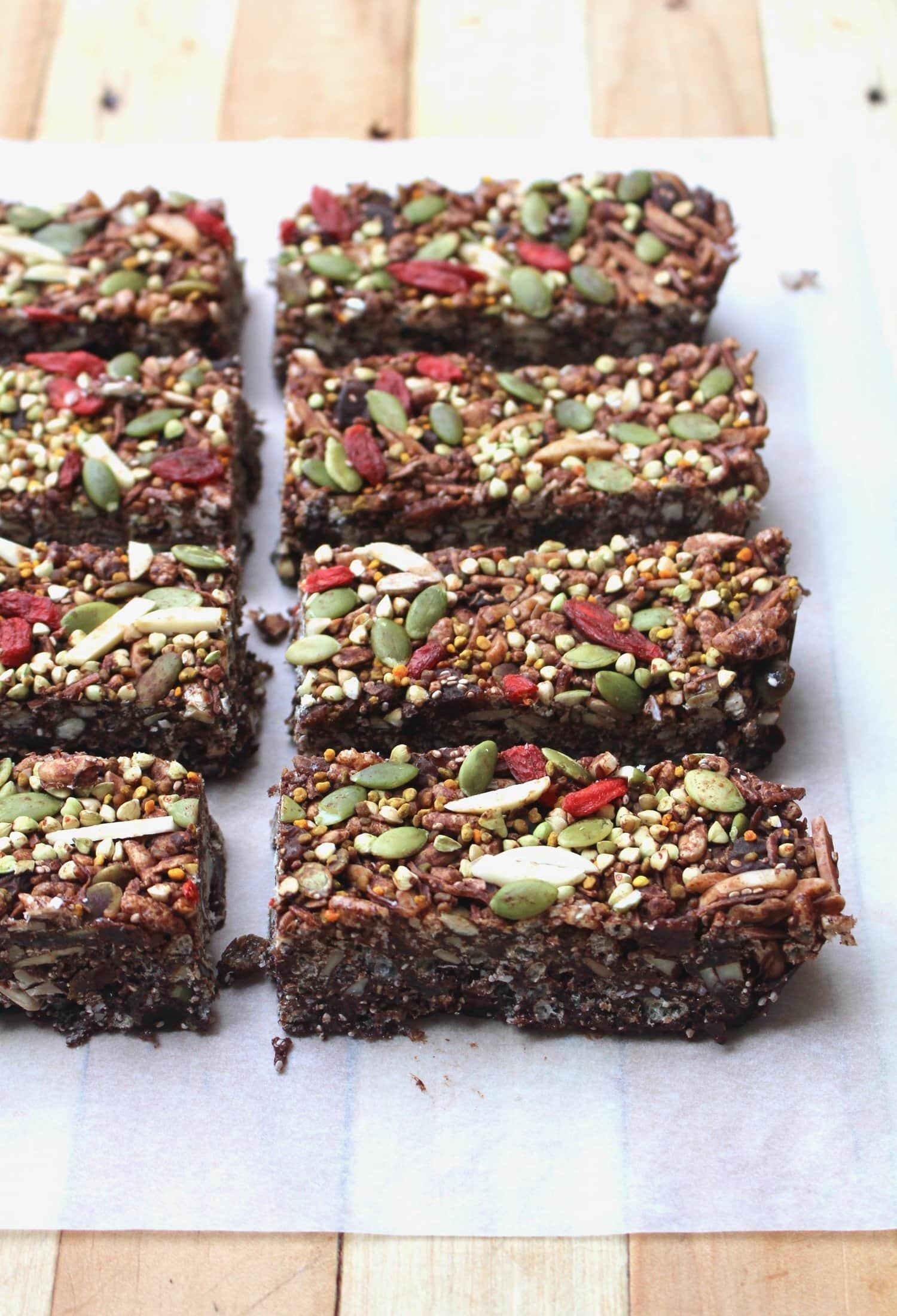 Slabs of chocolate rice crispy bars.