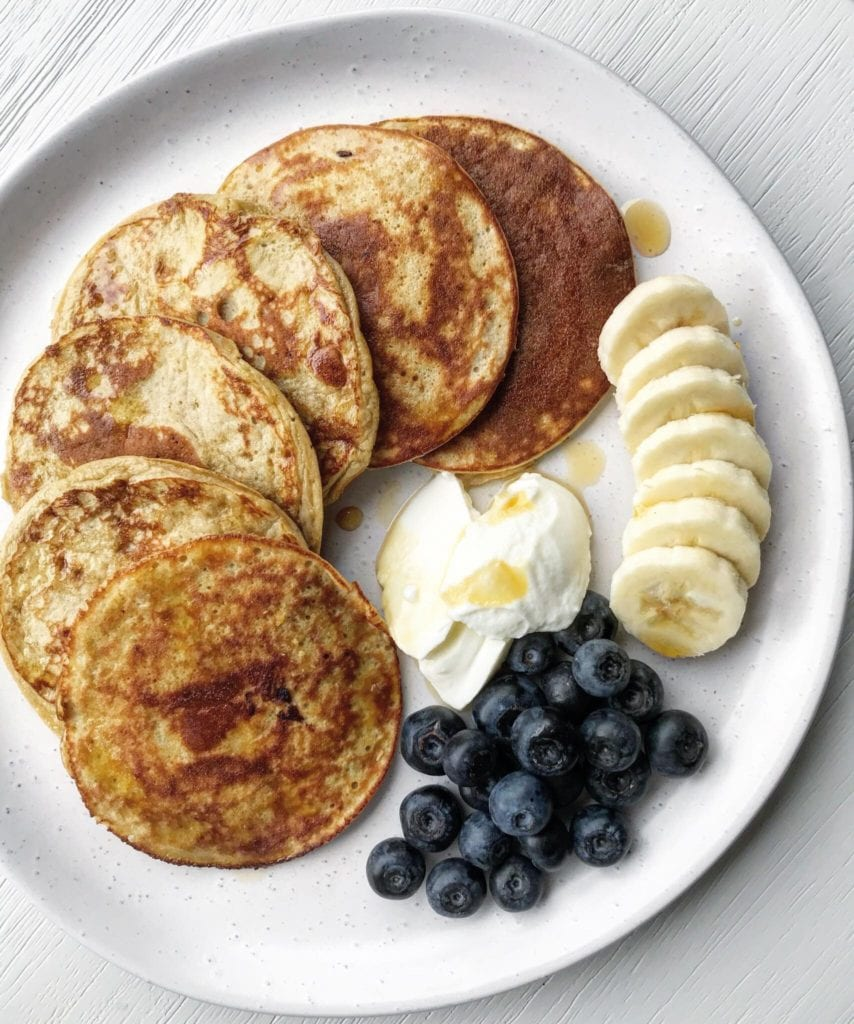 A picture of cooked protein pancakes on a white plate. There are slices of banana, a dollop of yoghurt and blueberries sitting next to it.