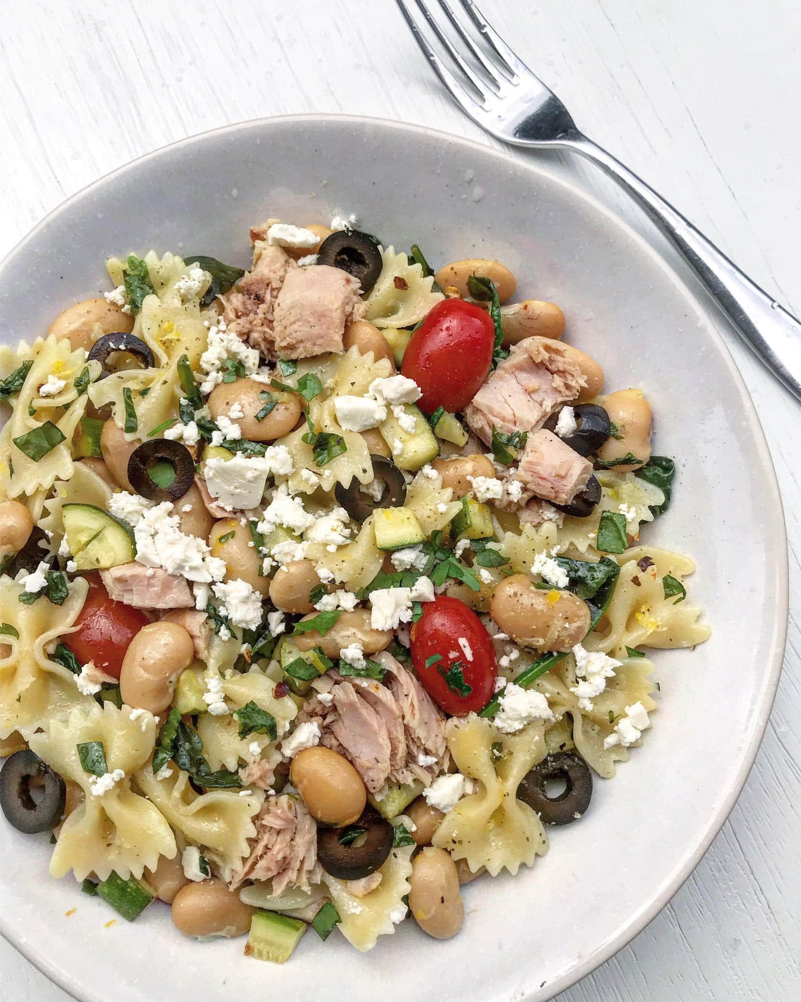Tuna pasta with feta and olives.