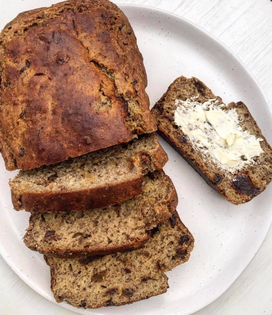 A picture of oven-baked banana bread on a white plate