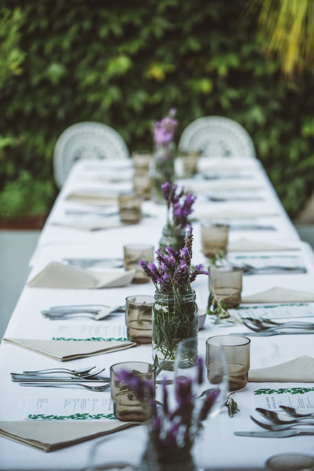 Supper club dining table setting