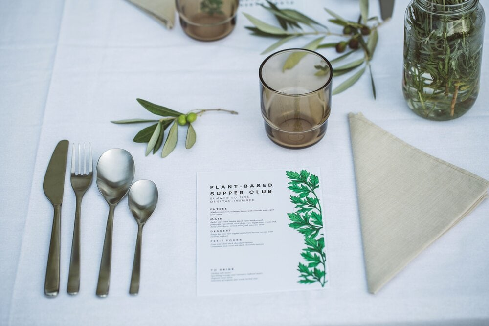 Close up of supper club table setting