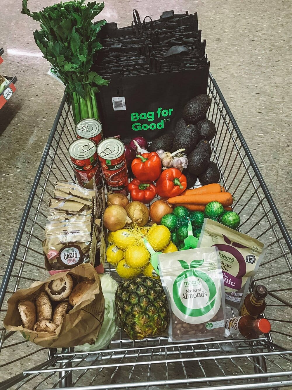 Supermarket trolley with ingredients for supper club.