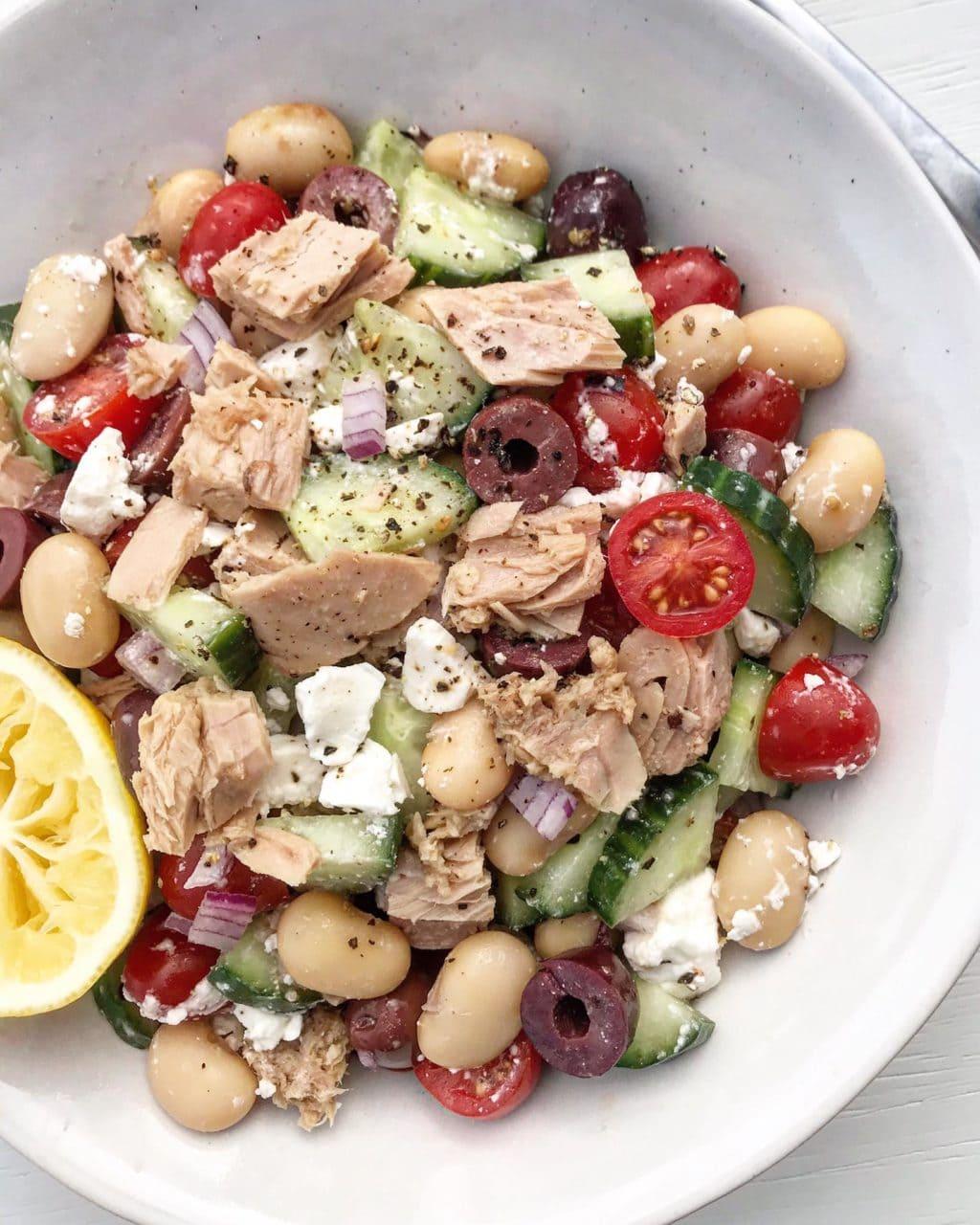 A close up of tuna greek-style salad.